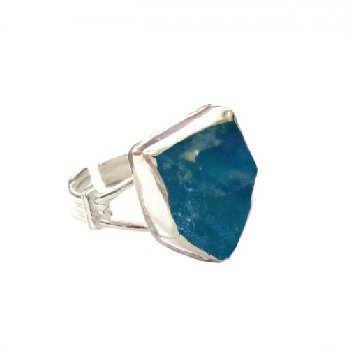 Roman Glass and Silver Shield Design Ring