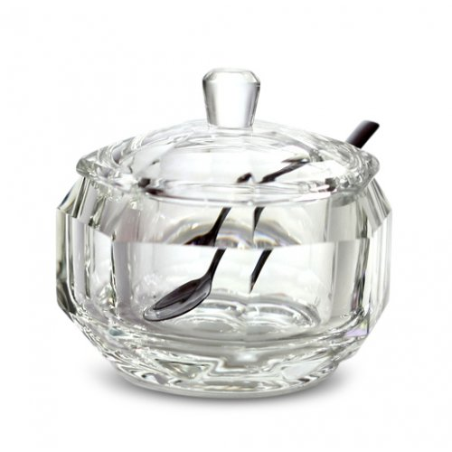 Rosh Hashanah 24% Lead Crystal Honey Dish with Spoon and Lid - Large