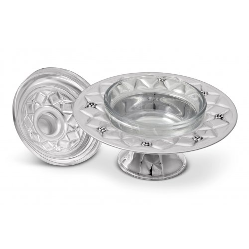 Rosh Hashanah Honey Dish on Pedestal with Diamond Design - 925 Sterling Silver