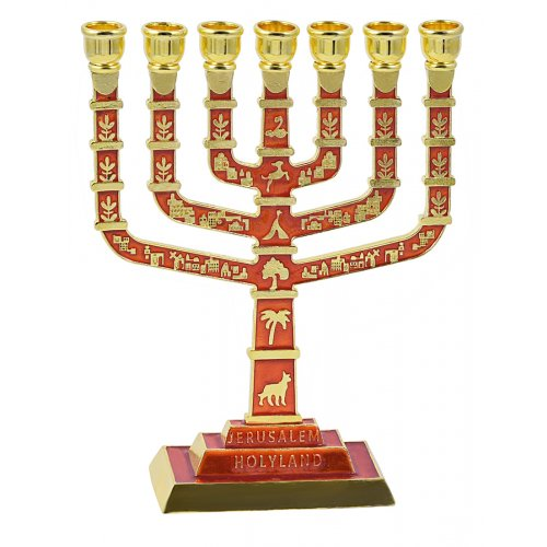 Seven Branch Jerusalem Menorah with Gold Judaic Motifs and Square Base - Red