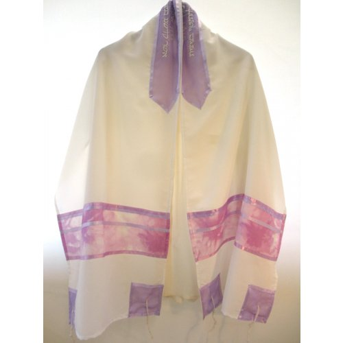 Sheer White Tallit Set with Violet and Lavender Shades - Galilee Silk