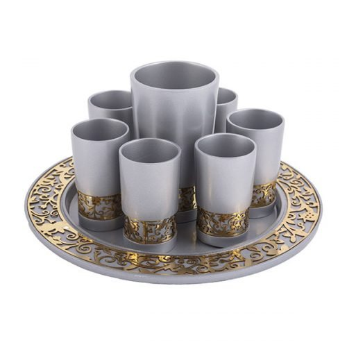 Silver Kiddush Cup Small cups and Tray, Gold Cutout Pomegranates - Yair Emanuel