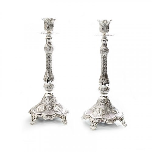 Silver Plated Decorative Filigree Design Candlesticks