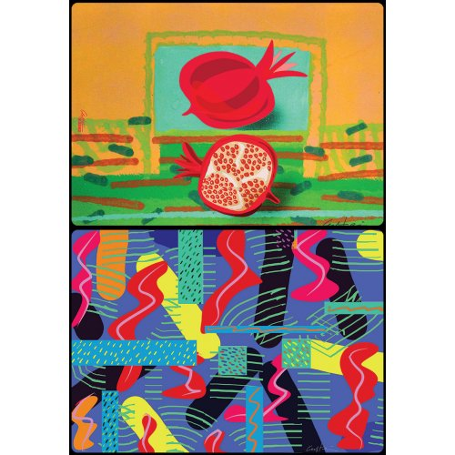 Six Double Sided Placemats - Seven Species and Abstracts by David Gerstein