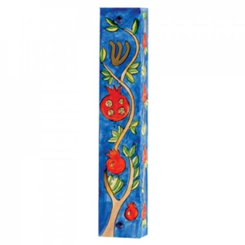 Small Hand Painted Wood Mezuzah Case, Pomegranates on Blue - Yair Emanuel