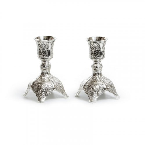 Small Silver Plated Decorative Shabbat Candlesticks