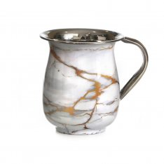 Stainless Steel Lightweight Netilat Yadayim Wash Cup-White-Gold-Gray Design