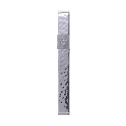 Stainless Steel Mezuzah Case Cutout Shin Letter, Hammered Silver - Yair Emanuel