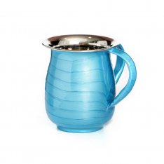 Stainless Steel Netilat Yadayim Wash Cup, Wave Design - Turquoise