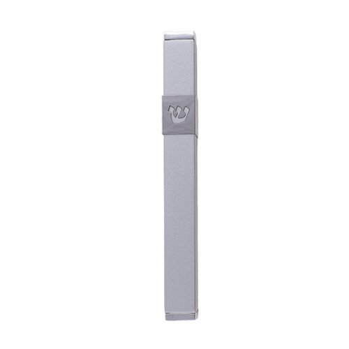 Stainless Street Mezuzah Case with Cutout Shin Letter, Matte Silver - Yair Emanuel