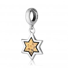 Star of David Bracelet Charm with Textured Gold Plate in Center - Sterling Silver