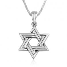 Star of David Pendant Necklace, Double Line - Sterling Silver