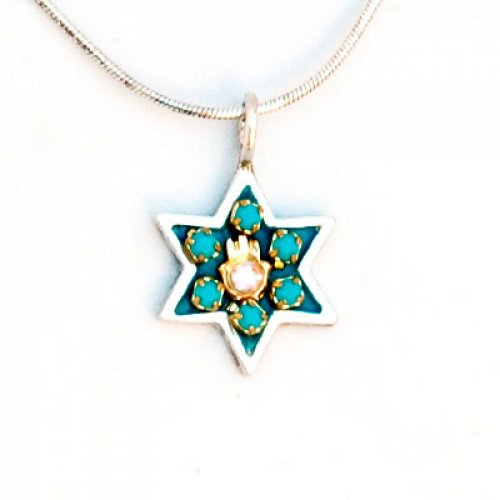Sterling Silver Hamsa Star of David Necklace - Shahaf