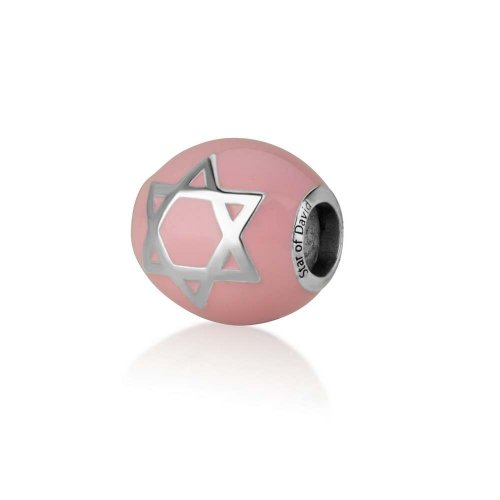Sterling Silver Pink Enamel Star of David Charm