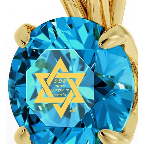 Swarovski Star of david Shema Necklace in Gold Plate - Nano Gold