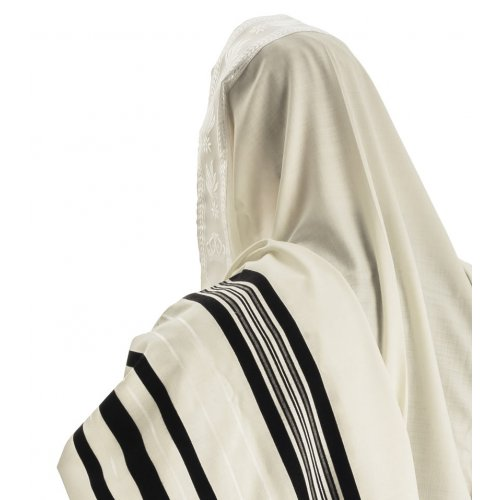 Talitania Wool Tallit - Black and White Stripes