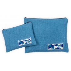 Tallit and Tefillin Bag Set, Blue Vitrage Linen Style - Ronit Gur