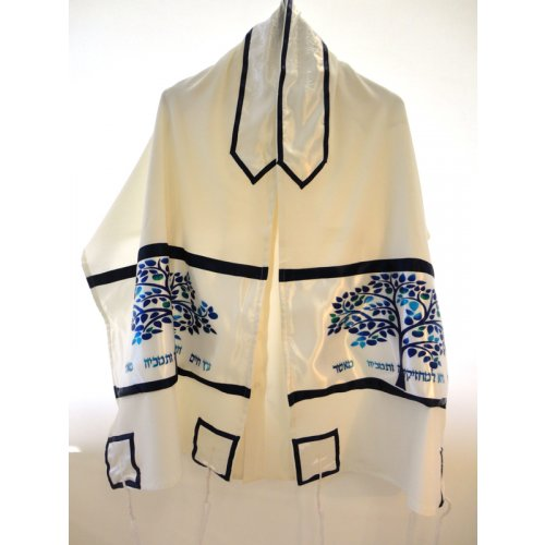 Tree of Life Blue and White Tallit Set - Galilee Silk