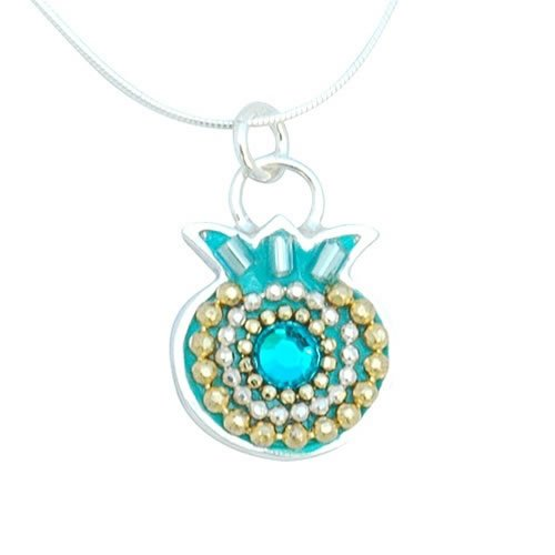 Turquoise Silver Pomegranate Necklace - Shahaf