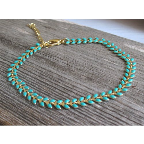 Turquoise and Gold Laurel Wreath Anklet by Gal Cohen