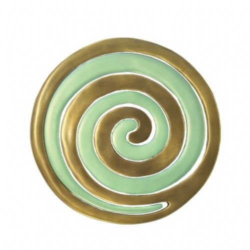 Two-in-One Anodized Aluminum Gold and Green Trivets, Swirls - Yair Emanuel