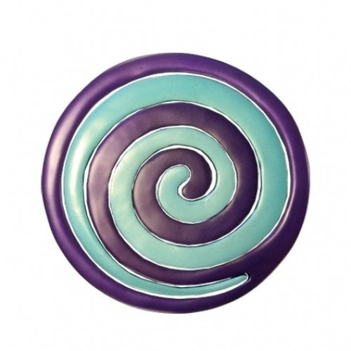 Two-in-One Blue and Violet Anodized Aluminum Trivet, Swirls - Yair Emanuel