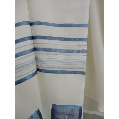 Viscose Off White Tallit Set with Blue Stripes - Galilee Silk