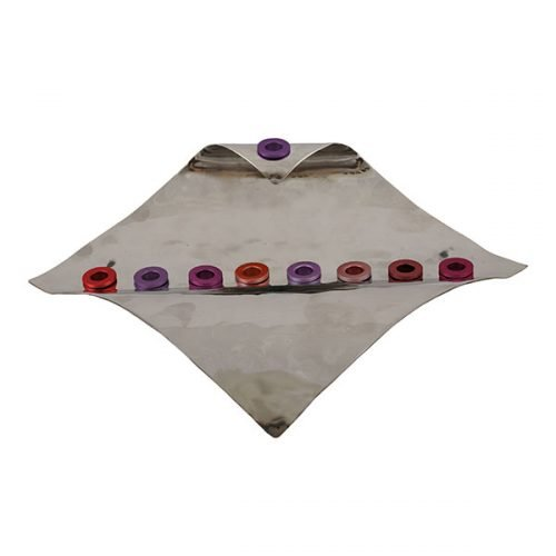 Wave Design Hammered Aluminum Chanukah Menorah, Red Shades - Yair Emanuel