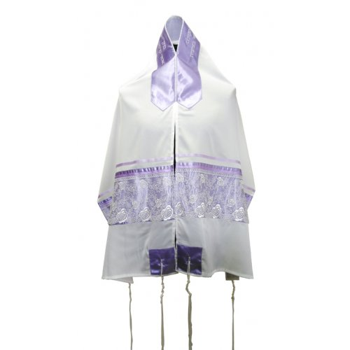 White-Purple Organza Tallit Set with Flowers by Ronit Gur