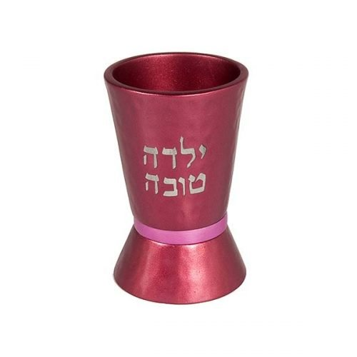 Yalda Tov Good Girl Small Maroon Kiddush Cup with Pink Band - Yair Emanuel